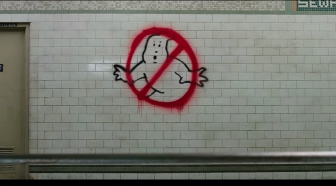 ghostbusters logo on subway wall from