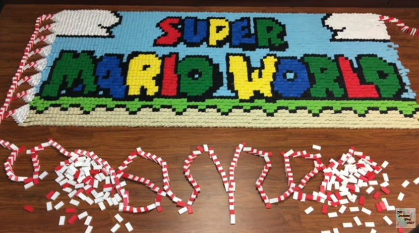 Super Mario World Recreated With Dominoes